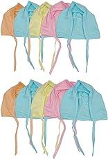 Badru New Born Baby Caps (Multicolour) - Pack of 10