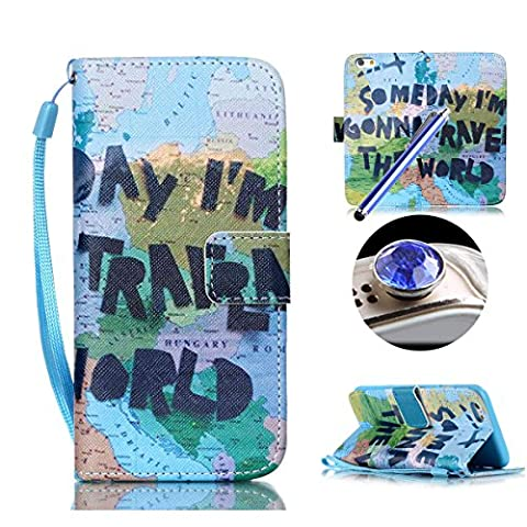 Etche Leather Case for iPhone 6 Plus/6S Plus,Wallet Case for iPhone 6 Plus/6S Plus,Flip Case for Iphone 6/6S Plus ,Creative World Map Quote Design Pu Leather Magnetic Stand Wallet Case with Soft Inner and Card Slots for iPhone 6 Plus/6S Plus 5.5