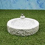 Vogelbad aus Granit (mit 1 Vögele am Rand sitzend)