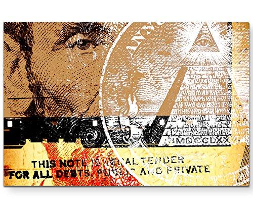 Abstraktes Bild – US-Dollar mit weißen und roten Elementen