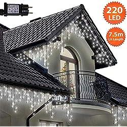 Eiszapfen Lichterketten 220 LED lichterkette außen, Helle Weiße Baum Lichter, Länge 7,5m, GS Geprüft, Optional mit 8 Leuchtmodi/Memory/ Timer, Grünes Kabel - 2 Jahre Garantie
