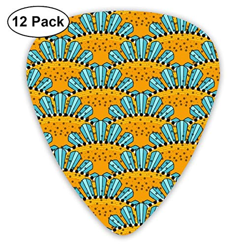 Aqua And Yellow Sunburst Scallops Classic Celluloid Picks, 12-Pack, For Electric Guitar, Acoustic Guitar, Mandolin, And Bass Brown Scallop