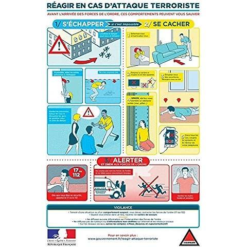 Editions Uttscheid-Póster de responder en caso de ataque terrosiste soporte-Cartel plastificada