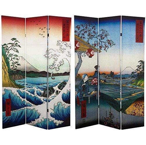 ORIENTAL FURNITURE 6ft. Tall Hiroshige de Doble Cara habitación Divisor–mar en Satta/té