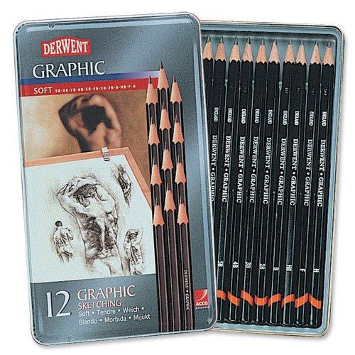 Derwent GRAPHIC Bleistifte Skizzieren graphit 9b-h Ref 34215[Pack 12] -