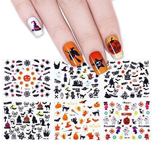 coulorbuttons 24Blatt Eule Totenkopf Kürbis Halloween 3D Nail Sticker Nail Art Transfer Aufkleber (Halloween Transfers Nail)