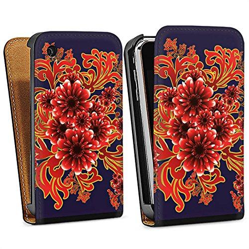 Apple iPhone 5 Housse étui coque protection Fleur Motif Motif Sac Downflip noir