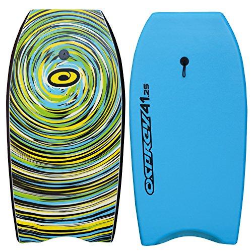 Osprey Body Board mit Leine, Slick Boogie Board, mit sichelförmigem Schwanz, unisex, Cyclone, blau