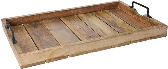 LS Design Tablett Serviertablett Holztablett Betttisch Betttablett Griff Mangoholz Braun