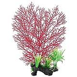 Naroote Pianta acquatica di Corallo di plastica, Piante Artificiali False per l'acquario Ornament della Decorazione di Paesaggio dell'acquario del carro Armato(Rosso)