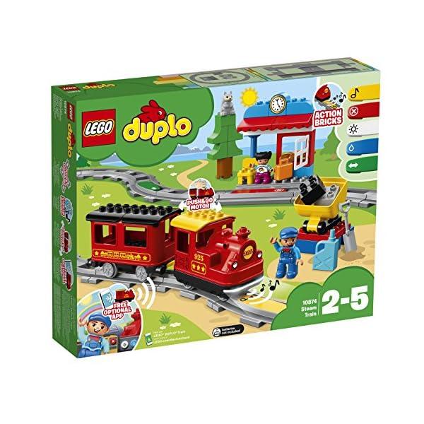 LEGO - DUPLO Treno a Vapore con Locomotiva Push And Go e 5 Mattoncini Multifunzione, Set di Costruzioni per Bambini dai… 1 spesavip