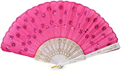 Women Sequin Decorated Folding Plastic Hand Fan Dance Fan (Rosy)