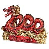 Design Toscano Willkommensfigur Asiatischer Zen-Drache, mehrfarbig, 11,5 x 34,5 x 25,5 cm, QM15006