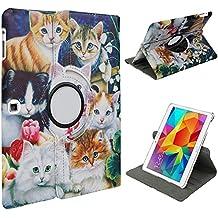 """Xtra-Funky Serie Samsung Galaxy Tab A, 9.7"""" Gatos cuero de la Falso de 360 ??° grados que giran el soporte elegante de la caja con función de despertador automático / reposo Incluye un lápiz de Punta blanda y protector de la pantalla"""
