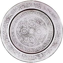 Bandeja oriental redonda hecha de latón 30cm para decorar mesa de centro