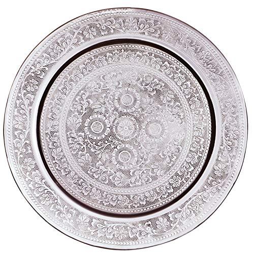Plateau de Service Marocain en laiton argenté Afaf 30cm Rond | Petit Plateau décoratif de Table de Thé Design oriental | Plat pour bougie antidérapant | Décoration de Maison de Chambre orientale