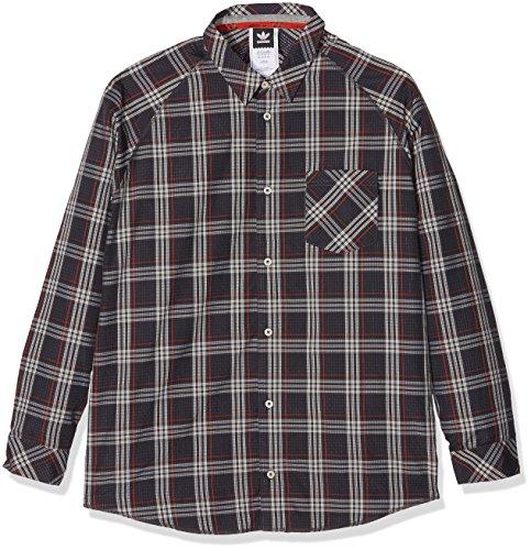 adidas Herren Aerotech Plaid Button-Front Shirt, Black/Clear Brown/Craft Chili, S (Plaid Brown Button)