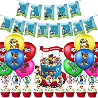 MOLECOLE Paw Dog Patrol Party Supplies Decoratins Set,Paw Dog Patrol Birthday Party Balloons,Paw Patrol Party Supplies for Paw Patrol Balloons,Birthday Banner with Patrol Theme Party for Girls Boys