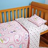 i-baby - Juego de ropa de cama para cuna, 4 piezas, funda de edredón y funda de almohada, juego de sábanas estampado 100% algodón (little pricess)