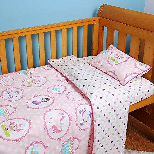 I-baby - Juego de ropa de cama para cuna, 4 piezas, funda de edredón y funda de almohada,...