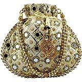 Golden white matka potli women potli handbags