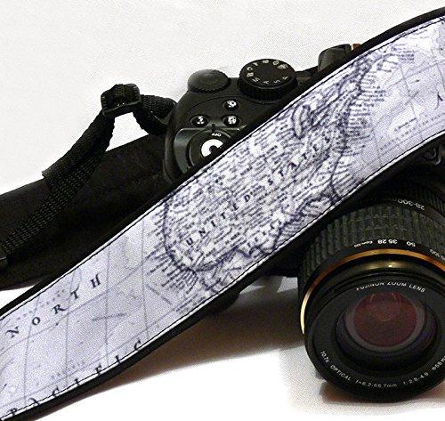 Grau Weltkarte Kameragurt. Foto Kamera Zubehör. SLR, DSLR Kamera Gurt. Geschenk für, 181 (Traveler Case Herren Leder)