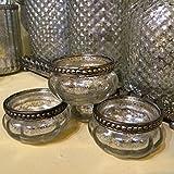 Set von 4 Kürbis-Weinlese-Silberglas Teelichthalter Hochzeitsdekoration
