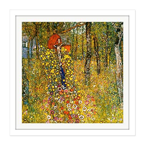 Wayside Gardens (Gustav Klimt Wayside Shrine Crucifix Farm Garden Square Wooden Framed Wall Art Print Picture 16X16 Inch Bauernhof Garten Holz Wand Bild)