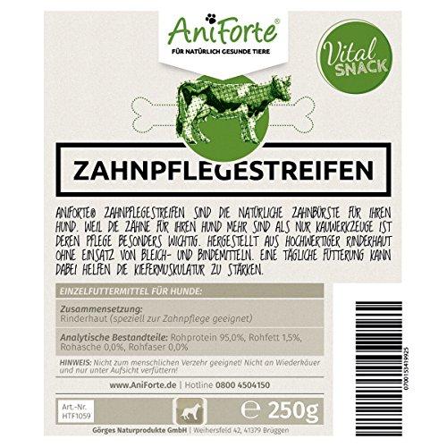 AniForte Vital-Snacks Zahnpflegestreifen 250 g mit Rind Hundesnack Hundeleckerlie- Naturprodukt für Hunde - 3