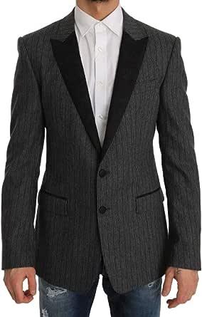 Dolce & Gabbana Gray Striped Martini Slim Blazer Jacket - Black - One size
