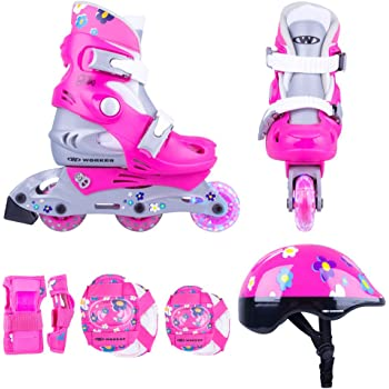 Inlineskating 26-29 verstellbar Kinder Inlineskates TriGo pink mit LED Leuchtrollen Gr