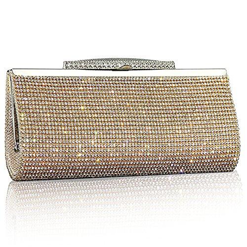 Funkeln-partei-kleid (Mode-Frauen Funkeln-Handtasche Kristall-Diamante Sparkly Silber-Gold-Schwarz-Abend-Braut-Abschlussball-Partei-Handtaschen-Geldbeutel (Gold))