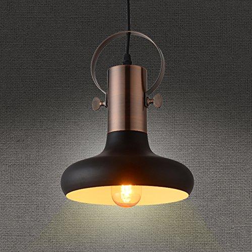 Mstar industriale vintage ciondolo in metallo nero lampada a sospensione lampadario per bar Cafe, metallo, Black/Copper(Medium,D195*H255mm), E27 60.00 wattsW 230.00 voltsV
