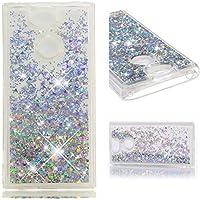 HopMore Funda Sony Xperia XA2 Silicona 3D Glitter Liquido Brillante Purpurina Motivo Transparente TPU Carcasa Xperia