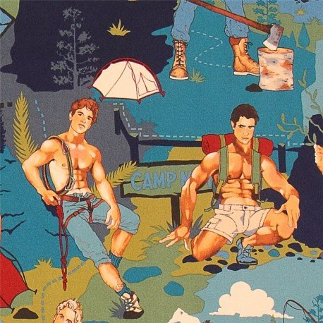 The Outdoorsy Type Camping fabric Pin up Alexander Henry (per 0.5m unit)