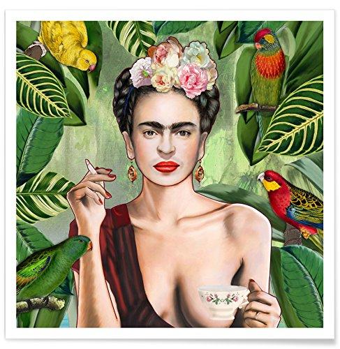 """JUNIQE Poster 50x50cm Frida Kahlo - Design """"Frida Con Amigos"""" (Format: Quadrat) - Bilder, Kunstdrucke & Prints von unabhängigen Künstlern - Kunst für's Wohnzimmer & Esszimmer - entworfen von Nettsch"""