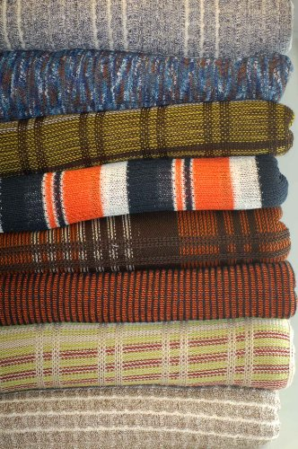 Neotrims Knit Rib Texture Fabrics By The Yard For Garments, Dressmaking Jersey. Light & Medium Weight Material for Apparel. A Selection of Knitted Craft Jerseys in Stunning Colours, Textures, Ottoman Ribs. Beige, Brown, Denim Blue Tie & Dye, Navy, Orange, Green. Great Price (Tie-dye-mix)