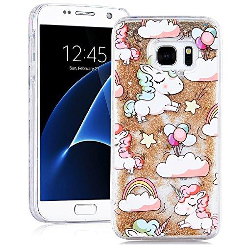 Samsung Galaxy S7 Custodia Rigida Glitter, SMARTLEGEND Liquido Sabbie Mobili Stella Bling Cover Bumper PC Duro Back Case Design di Cute Unicorno Modello Caso, Protettiva Antiurto Durable Copertina per Oro