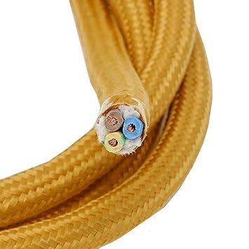 Neu Stoffkabel gold Länge 3 Meter 3-adriges Textilkabel Baumwolle  IG33