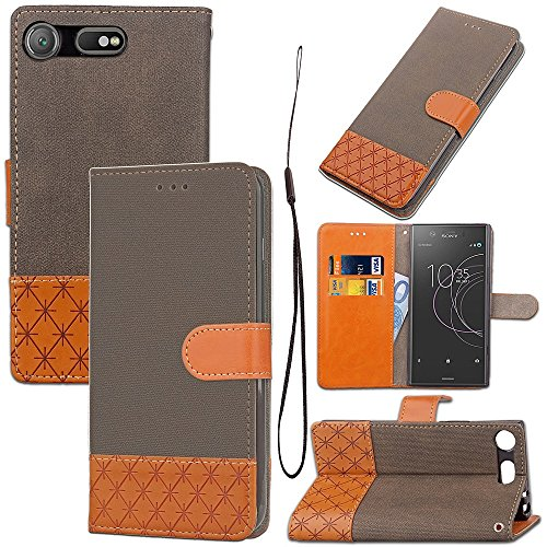 Price comparison product image GHC Cases & Covers, for Sony Xperia XZ1 Compact, Mixed Color Stitching Leather Stand Pouch Case with Card Slots ( Color : Brown )