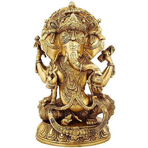 Shalinindia Messing Statue Hindu Gott Ganesha Sitzend Groß Indian Décor 27,9cm, Weight-5.5kg (Messing Buddha Statue Große)
