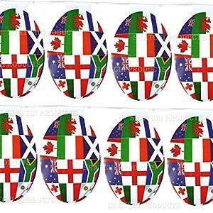 Gifts 4 All Occasions Limited SHATCHI-193 - Banderines de rugby con forma de bola de 15 pies, decoración de fiesta olímpica
