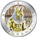 ANUBIS Gilded Ancient Egypt Silver Coin 1$ Fiji 2012 Moneda