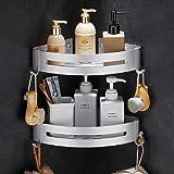 Bogeer Narożna półka prysznicowa, wielofunkcyjna, montaż bez wiercenia, z hakami i magicznymi naklejkami, na akcesoria, z alu