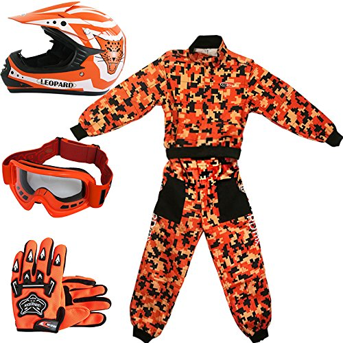 Leopard LEO-X17 Naranja Casco de Motocross para Niños (L 53-54cm) + Gafas...