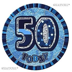 Gifts 4 All Occasions Limited SHATCHI-649 - Insignia de 50 cumpleaños, diseño de 50 cumpleaños, color azul