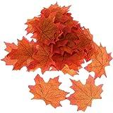 100pcs Feuille d'Erable Automne Artificielle Décoration Jardin Mariage DIY - Orange
