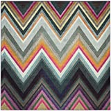 "Multicolored , 6'7\ Square : Safavieh Monaco Collection MNC234F Modern Bohemian Chevron Stripe Multicolored Distressed Square Area Rug (6'7"" Square)"
