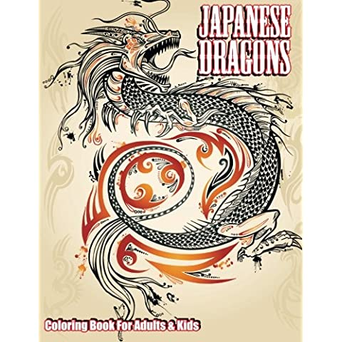 Japanese Dragons Coloring Book For Adults & Kids: Volume 50