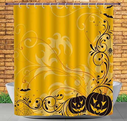 hang, Halloween-Dekorationen, Geschnitzte Kürbisse mit Blumenmuster, Fledermäuse und Spinnennetz, Horror-Muster, orange-schwarz, strapazierfähiger Stoff Duschvorhang ()